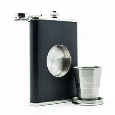 Flask and shot glass  If the man you're shopping for is a fan of alcohol, chances are he'd love this manly flask with the collapsible shot glass.