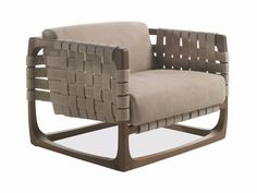 BUNGALOW Leather armchair with armrests By Riva 1920