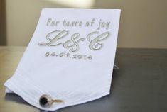 tears of joy personalised wedding handkerchief by alphabet interiors | notonthehighstreet.com