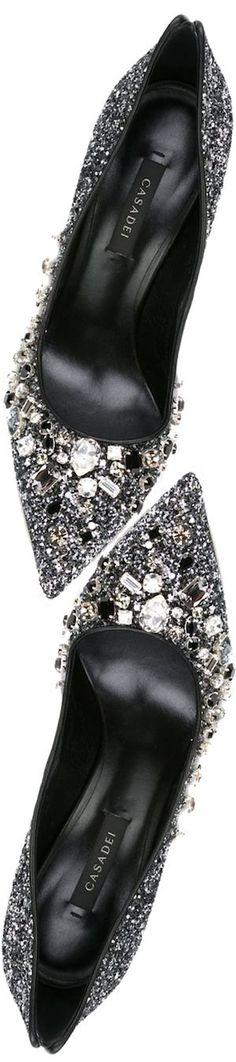 Head over Heels - Casadei Embellished Glitter Pumps in Black Crazy Shoes, Me Too Shoes, Shoe Boots, Shoes Heels, Glitter Pumps, Evening Shoes, Beautiful Shoes, Wedding Shoes, High Heels