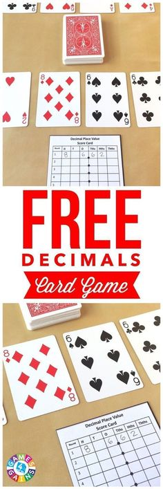Place Value With Playing Cards! My students love this fun and easy-to-prep decimals card game! Works great for practicing decimal place value!My students love this fun and easy-to-prep decimals card game! Works great for practicing decimal place value! Teaching Decimals, Math Fractions, Teaching Math, Comparing Decimals, Equivalent Fractions, Percents, Adding Decimals Activity, Fractions Decimals And Percentages, Decimal Multiplication