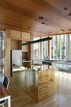 This gourmet kitchen sits inside a tiny New Zealand home, making use of a reflective island and translucent cabinets to keep things feeling open and bright.