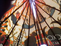 Inside the painted tipi, it's an amazing view. www.tipi.guru