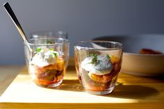 caramelized brown sugar oranges with yogurt and mint | smittenkitchen.com