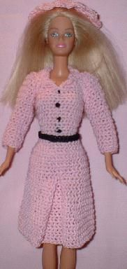 Dress and Hat for Barbie Free Crochet Clothes Pattern