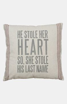 PRIMITIVES BY KATHY 'So She Stole His Last Name' Pillow available at #Nordstrom