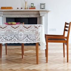 Scottish Lace Table Cloth, Minna Hepburn. I would like to imagine this lace tablecloth over a dark wood table.