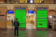Vyborg Railway Station - Man reading timetables at Vyborg Railway station