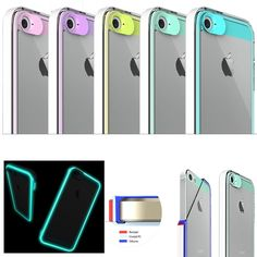 BRAND Shock-Proof 3-Layer Clear Back Glow in the Dark case cover for iPhone 5 5S
