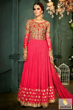 The essence of vibrant women fashion dark pink color umbrella style anarkali suit with special discount sales and discount at ethnic wear store pavitraa fashion. #salwarsuit, #designerdress more: http://www.pavitraa.in/catalogs/indian-bridal-wear-anarkali-salwar-kameez/