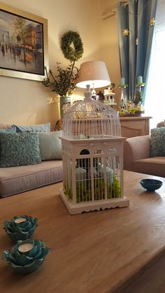 Decoration coffee table with birdcage  spring-summer