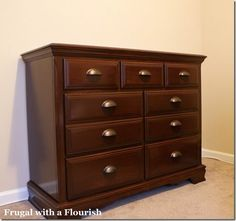 How to strip and restain a dresser (this used to be a light oak!) - Citri-strip Spray stripper, Cabot Stain in Maple Leaf, polyurethane, and new pulls