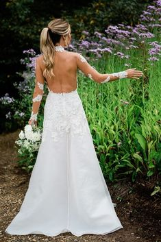 Open back wedding dresses are simply gorgeous! Open Back Wedding Dress, Custom Wedding Dress, Dream Wedding Dresses, Designer Wedding Dresses, Wedding Gowns, Lace Wedding, Highlands Nc, Southern Bride, October Wedding