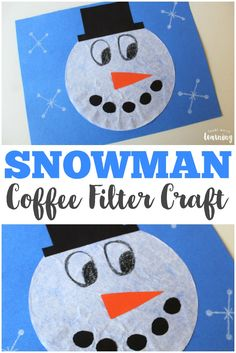 Coffee Filter Snowman Craft for Kids to Make! Make this cute coffee filter snowman craft with the kids on a winter afternoon!Make this cute coffee filter snowman craft with the kids on a winter afternoon!