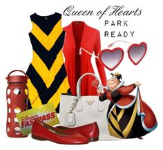 """""""Queen of Hearts: Park Ready"""" by laniocracy on Polyvore featuring Slater Zorn, Markus Lupfer, Prada, Lifefactory, Disney and disneyland"""