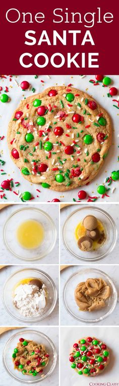 One Santa Cookie - the easiest and fastest Christmas cookie you can make! And it's one of the tastiest too! Plus there's minimal clean up. Perfect last minute gift idea too. #christmascookies #christmas #santacookie #dessert #recipe