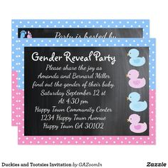Shop Duckies and Tootsies Invitation created by GAZoomIn. Personalize it with photos & text or purchase as is! Gender Reveal Invitations, Pink Invitations, Personalized Invitations, Custom Invitations, Harry Potter Invitations, Baby Shower Gender Reveal, Easter Party, Blue Polka Dots, Reveal Parties