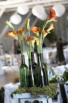 Cala Lilies in Wine Bottles - Simple & Elegant!