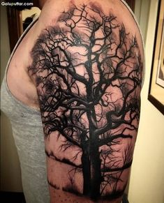 Scary-Dry-Tree-Tattoo-Design-On-Mans-Upper-Arm.jpg (600×742)
