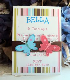 Butterfly Invitation Childrens Birthday by TooCuteInvites on Etsy, $30.00