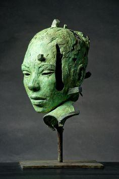 Green - head - figurative sculpture - Lionel Smit