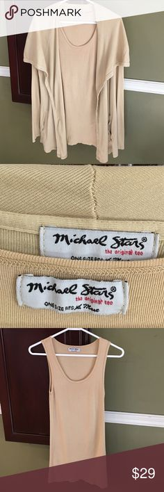 EUC Michael Stars Cardigan and Tank - OS Beautiful Michael Stars tank and Cardigan - one size.  Only worn a few times. Laundered and air-dried. No tears or stains.  Color is a tan /mustard color. Michael Stars Sweaters Cardigans