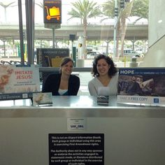 """We saw a JW table in the San Diego Airport!! We were walking past and I saw a blue square in the bottom right corner and I thought """"is that the jw.org logo? So we went back and talk to them. Pretty cool to the see the tables used all over the world!! (We saw one last summer in Italy, too!! )"""