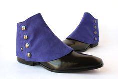 Mens Spats in Alcantara® Ultramarine blue color Men Gaiters spats spatterdash by TheGreyDeer on Etsy