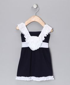 This Navy & White Rosette Ruffle Dress - Infant & Toddler by Mia Belle Baby is perfect! #zulilyfinds