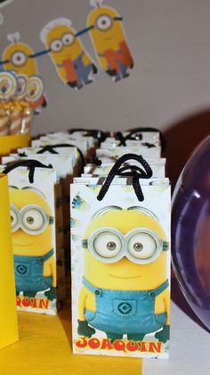 Favor bags at a Minion birthday party! See more party ideas at CatchMyParty.com!