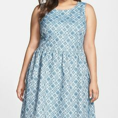 """Halogen (Nordstrom) fit and flare dress NWT NWT!!! Halogen flared dress in a lovely blue/teal ceramic color. This dress is lined, very fine quality. It's been sitting here waiting for me, but it doesn't fit my """"girls"""" so... to someone else's home she must go!! Halogen Dresses Midi"""