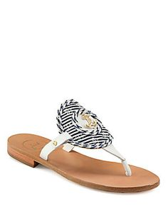 f7835f54379c Jack Rogers Spinnaker Leather Thong Sandals Nautical Sandals