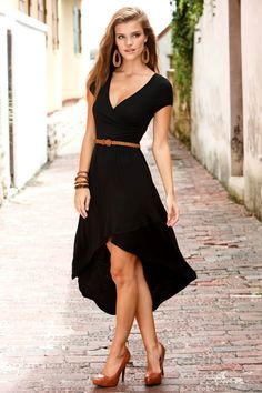 Hi-lo black dress: A sexy LBD with a plunging neckline and a hi-lo hem that lends the dress extra movement. Wear with understated jewelry and let the dress speak for itself.