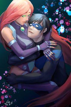 [Art Work] Nightwing and Starfire by Kokesa Robin Starfire, Nightwing And Starfire, Teen Titans Love, Teen Titans Fanart, Original Teen Titans, Equestria Girls, Raven Beast Boy, Univers Dc, Cartoon Shows
