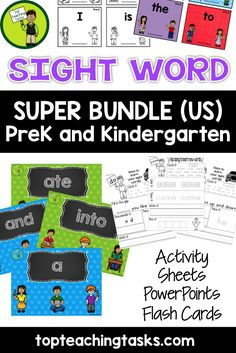 This bundle includes the 40 PreK Sight Words AND 30 Kindergarten Dolch Sight Words in engaging printables, PowerPoint and Flash Cards to help your students gain sight word fluency! Use this as part of your Word Work Daily 5 activities, or as an addition to your writing program. A great bonus – NO PREP! Just PRINT and GO! Available at a discounted price at www.topteachingtasks.com
