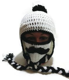 Mustache Face Mask Ear Flap Winter Hat with Pom by AddSomeStitches #hepteam