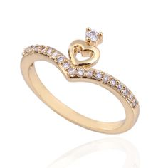 Unique Double Heart  Design 18K Gold Plated Fashion Copper Finger Ring Inlay Zircon Three Sizes