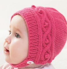 Baby Knitting Patterns Free Knitting Pattern for Cable Baby Bonnet - Sizes 0-6 mont...