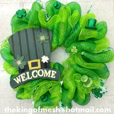 Create your own St Patrick's Mesh Wreath or order yours at: thekingofmesh@hotmail. com - Introducing my newest #meshwreath from latest #StPatricks collection. I got all my supplies at @MichaelsStores #craftssupplies #decomesh #custom #mesh #michaelsstores @thekingofmesh #homedecor #polydecomesh #green #shamrock #hat