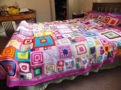 More grannies! This blanket was made for a crochet group member surviving Brest cancer