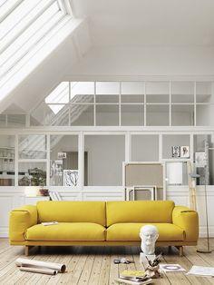 Yellow sofa. Living Room. White. Bright. Skylight. Loft. Home. Interior. Colour. Decor. Design.