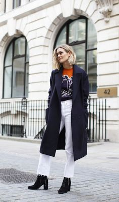 White cropped flares and a statement sweater can go from office to weekend so easily.