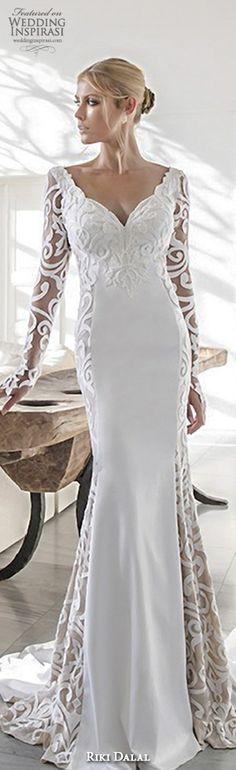 riki dalal 2015 valencia wedding dresses filigree lace long sleeves v neck embroidered bodice elegant sheath wedding gown #sheathweddingdress #weddingdresses