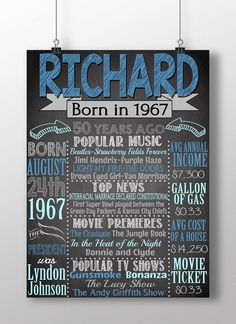 1967 Birthday board, 1967 history facts, back in 1967, 50th birthday party, 50th birthday gift for him, 50 years old birthday, BRDADL67