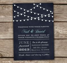 String Lights Wedding Invitations - Printed or Digital, Chalkboard, Rehearsal Dinner, Bridal Shower, Engagement, Midnight Blue - Style #9001 by chitrap on Etsy