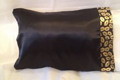 Black Satin Pillowcase Black Satin With Gold Lips Trim Pillowcase  The Pillowcaseaye
