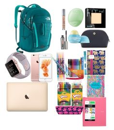 """What is in my backpack"" by peace101-i on Polyvore featuring The North Face, Maybelline, Urban Decay, Lilly Pulitzer, Paper Mate, Crayola, Tory Burch, Vera Bradley, Eos and Benefit"