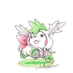 Drawn by itsbirdy ...  shaymin land form in its sky form costume ...  shaymin, pokemon