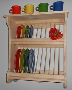 PLATE RACK WOOD WOODEN WALL MOUNT FIESTAWARE NEW FREE SHIPPING