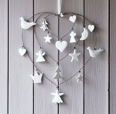 Christmas cutouts on heart shaped wire